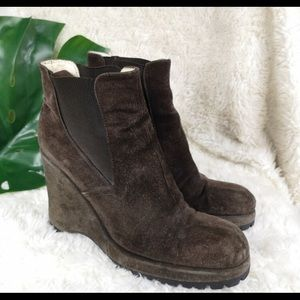 Miu Miu suede wedge booties